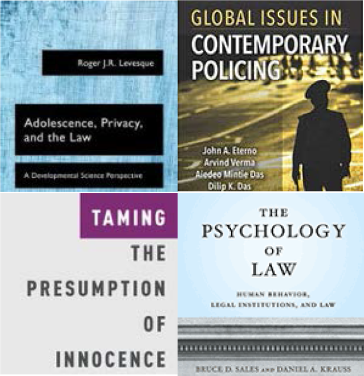 Image of four recent books by IU CJ faculty.